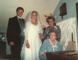October 20, 1984; George & Deborah Dykeman with Grandma McMillen & Auntie